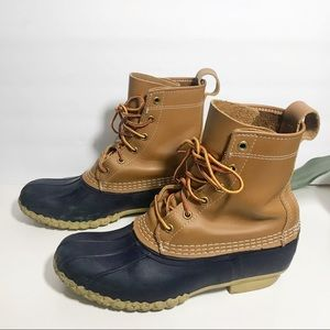 LL Bean Boots Rainboot Brown Navy Made in USA